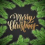 Merry Christmas holiday golden hand drawn quote calligraphy greeting card background template. Vector Christmas fir tree branch ga. Rland wreath decoration Royalty Free Stock Image
