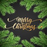 Merry Christmas holiday golden hand drawn quote calligraphy greeting card and fir tree branch frame background template. Vector Ch. Ristmas wreath decoration and Royalty Free Stock Photography