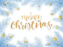 Merry Christmas holiday greeting card background template of golden text hand drawn calligraphy in Christmas tree snow frost frame. Merry Christmas holiday Stock Photo