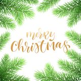 Merry Christmas holiday greeting card background template of golden text hand drawn calligraphy in Christmas tree fir branch frame. Vector New Year festive Royalty Free Stock Image
