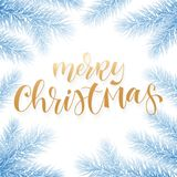Merry Christmas holiday greeting card background template of golden text hand drawn calligraphy in Christmas tree snow frost frame. Vector New Year festive Royalty Free Stock Images