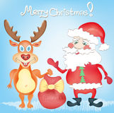 Merry Christmas Holiday Greeting card with Deer an. D Santa Claus cartoon characters with Presents bag Hand drawn trendy colors in vector stock illustration