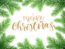 Merry Christmas holiday greeting card background template of golden text hand drawn calligraphy in Christmas tree fir branch frame. Merry Christmas holiday Stock Images