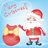 Merry Christmas Holiday Greeting card Santa Claus. Cartoon character with Presents bag Hand drawn trendy colors in vector royalty free illustration