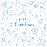 Merry Christmas Holiday greeting card with set of Christmas thin Stock Photos