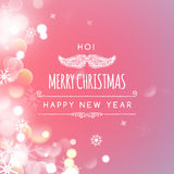 Merry Christmas holiday greeting design with Santa. Vector illustration of Merry Christmas holiday greeting design with Santa Claus mustache on Bokeh background royalty free illustration