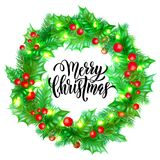 Merry Christmas Holiday Hand Drawn Quote Calligraphy Greeting Card Background Template. Vector Christmas Tree Or Holly Wreath Deco Stock Photo