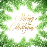 Merry Christmas Holiday Hand Drawn Quote Golden Calligraphy Greeting Card Background Template. Vector Christmas Tree Fir Or Pine W Royalty Free Stock Photo