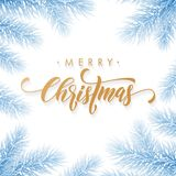 Merry Christmas holiday hand drawn quote golden calligraphy greeting card frozen blue snow ice background template. Vector Christm. As tree fir or pine wreath Royalty Free Stock Image