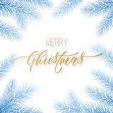 Merry Christmas holiday hand drawn quote golden calligraphy greeting card on white snoe background template. Vector Christmas tree. Fir or pine wreath branch Stock Photos