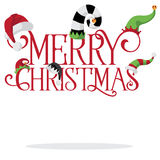 Merry Christmas with holiday hats stock illustration