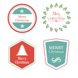 Merry christmas in holiday labels with christmas tree, star, mis Royalty Free Stock Photos