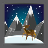 Merry Christmas! Holiday post card design with deer and mountains. Poster template. Vector. Stock Images