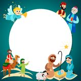 Merry Christmas holiday set of flying angel and Jesus Christ story royalty free illustration