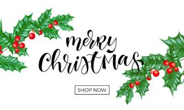Merry Christmas holiday shop sale web banner background template of New Year fir or pine tree branch on white background. Vector C. Hristmas holly wreath Royalty Free Stock Images