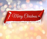 Merry Christmas holiday vector bokeh background with red ribbon Stock Photo