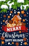 Merry Christmas holiday vector greeting card Royalty Free Stock Photos