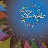 Merry christmas holiday vector illustration on blue background Stock Photo