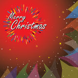 Merry christmas holiday vector illustration. This graphic on red background is a lettering composition with light rays Royalty Free Stock Photo