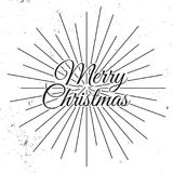 Merry Christmas 2018. Holiday Vector Illustration With Lettering Composition and Burst. Vintage Festive Label.  Royalty Free Stock Image