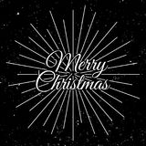 Merry Christmas 2018. Holiday Vector Illustration With Lettering Composition and Burst. Vintage Festive Label Stock Images
