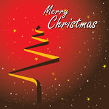 Merry christmas holiday vector illustration with xmas tree. On red background Stock Photos