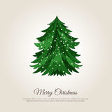 Merry Christmas Holiday Web Page Template. Christmas celebrating banner. Christmas tree in snowfall vector illustration. Merry Christmas and Happy New Year Royalty Free Stock Photo