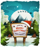 Merry Christmas Holidays Background. Illustration of a cartoon night snowy christmas holidays background, with wood sign and santa character driving sleigh in Royalty Free Stock Images