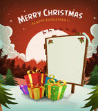 Merry Christmas Holidays Background. Illustration of a cartoon red christmas holidays background, with gifts, wood sign and santa character driving sleigh in the Stock Photo