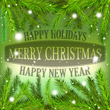 Merry Christmas holidays card with Christmas tree twigs Royalty Free Stock Photo