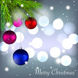 Merry Christmas holidays card with colorful baubles Stock Photography