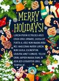 Christmas merry holidays vector greeting card Stock Photo