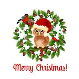 Merry Christmas holidays wish vector owl on wreath. Merry Christmas wish icon of owl in Santa hat on holly of fir wreath garland for winter New Year holidays royalty free illustration