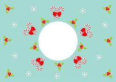 Merry Christmas. Holly berry icon. Mistletoe. Candy Cane stick with red bow. Green leaf Three red berries. Snow flake. Round white. Frame. Flat design. Blue Stock Images