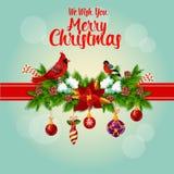 Merry Christmas holly garland and cardinal birds Stock Photo