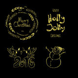 Merry Christmas, Holly Jolly, happy New 2016 Year! Calligraphic labels, letters elements made of golden glitters. Shiny set of graphic. Gold Christmas tags Royalty Free Stock Images