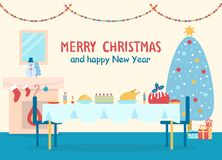 Merry Christmas Home Decor Vector Illustration. Merry Christmas and happy New Year, poster with home decor, table and fireplace with socks and snowman, tree and Stock Photo