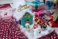 Merry christmas home . Christmas house on a background of winter mountains. Flat style: christmas house in mountains. Little cotta stock photography