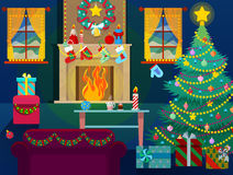 Merry Christmas Home Interior with Christmas Tree, Fireplace and Gifts. Vector Background Royalty Free Stock Photos