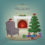 Merry Christmas home interior with a fireplace, Christmas tree, armchair, colorful boxes with gifts, candles Royalty Free Stock Photography