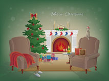 Merry Christmas home interior with a fireplace, Christmas tree, armchairs, colorful boxes with gifts. Royalty Free Stock Photos
