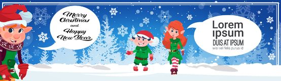 Merry Christmas Horizontal Banner Cute Elf Characters Holiday Poster Design Concept Royalty Free Stock Images