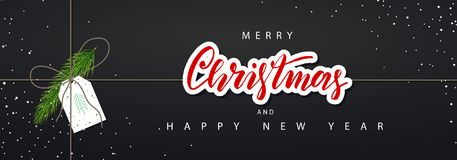 Merry Christmas Horizontal Banner. Vector Illustration. Happy New Year Concept. Season Greetings. Concept for web banners and prom Stock Photo