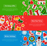 Merry Christmas Horizontal Banners Set With Flat Sticker Icons. Vector Flat Illustration. Happy New Year Concept. Season Greetings. Concept for web banners and Stock Photography