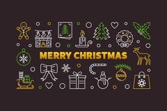 Merry Christmas vector linear horizontal illustration or banner. Merry Christmas horizontal vector illustration or banner made with xmas outline creative icons Stock Illustration