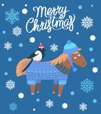 Merry Christmas Horse and Bird Vector Illustration. Merry Christmas horse wearing knitted sweater and hat that come together and bird in red hat, image with stock illustration