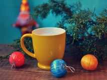 Merry Christmas, hot coffee Royalty Free Stock Image