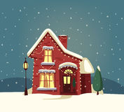 Merry Christmas house. Cartoon vector illustration. Happy new year banner. Vintage style. Greeting card. Nature. Winter time Royalty Free Stock Photo