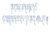Merry Christmas! with icicles Stock Image