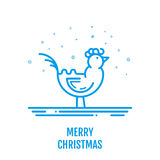 Merry Christmas icon concept with rooster in outline style. New year design for banner web graphics wallpaper page background invitation greeting card flyer Royalty Free Stock Images